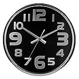 Premier Housewares - Reloj de pared (acero inoxidable, 38 x 38 x 5 cm), color negro