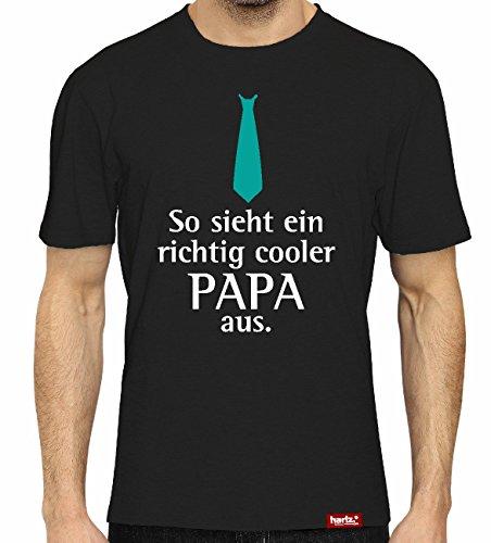 #PAPA: Original HARIZ® Collection T-Shirt // 36 Designs wählbar // Schwarz, S-XXL // Inkl. Urkunde, Top Geschenk #Papa28: So sieht ein richtig cooler Papa aus L (Eines Shirt Tages)
