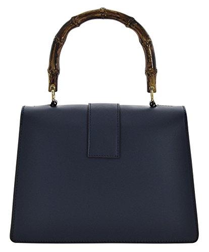 ALESSIA Borsa a Mano Borsa Spalla Vera Pelle Cuoio Donna Moda Made in Italy Blu