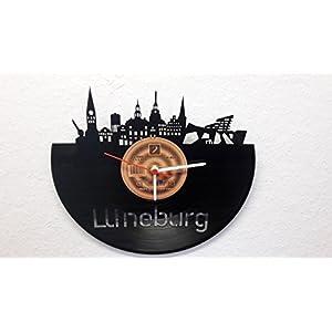 Wanduhr Uhr Skyline Lüneburg Silhouette Chronometer aus original Vinyl Schallplatte Upcycling Design Uhr Wand-Deko Wand-Dekoration