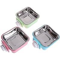 CADANIA Pet Bowl Acero Inoxidable Alimentador de Alimento de Agua Perro Gato Jaula Colgante Cuadrados Suministros