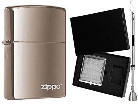 Briquet Zippo Black Ice Logo W et Set cadeau au choix + R S Tige Briquet Chrome