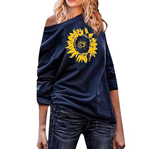 CEFGR Damen Sweatshirt Mode Kausal Eine Schulter Sunflower Gedruck Blusen Langarm Top Slim Fit Tunika
