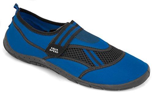 AQUA-SPEED Scarpe Di Acqua Per Spiaggia - Mare - Lago - Pantofole Ideale Come Protezione Per I Piedi - #As25 Blu/Nero