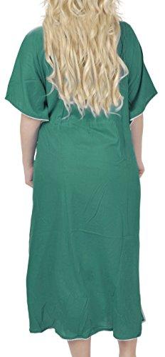 La Leela alle in 1 Damen Rayon Partei Cocktail Tunika Bikini bestickte verschleiern oben Vintage-Kleider Badebekleidung Kordel Nachthemden tiefer Ausschnitt langes Abendkleid Kaftan Frauen Grün 8
