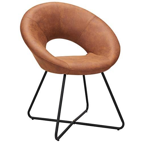 Duhome sedia da sala da pranzo in tessuto effetto cuoio marrone arancio rame ocra terracotta sedia di sala d'attesa conferenza design straordinario con piedini in metallo selezione colore 439d