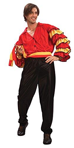 Bristol Novelty ac626Rumba Mann Erwachsene Kostüm, schwarz, Blumenkasten (Tänzerin Halloween Kostüme Ideen)