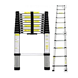 Todeco - Teleskopleiter, Klappleiter - Maximale Belastbarkeit: 150 kg - Material: Aluminiumlegierung - 3,2 Meter, EN 131