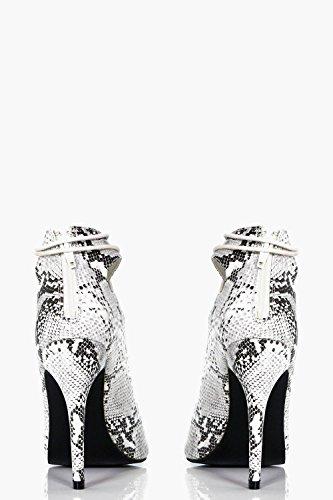 Damen Weiß Millie Ghillie-sandalen Mit Schnürung Und Schlangen-print Weiß