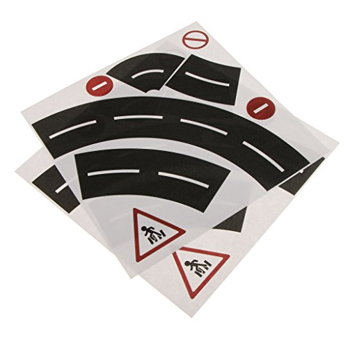Gazechimp 1 Stück Kreative Verkehrsstraße DIY Kurvenstraße / Kurvenbahn Klebeband Aufkleber aus Papier für Kinder Zug Modell Spielzeug - Kurvenstraße (Scrapbooking Straße)