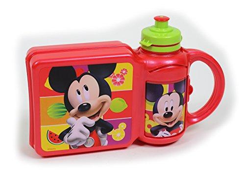 Lunch Box mit Trinkbecher / Disney Micky Maus / Pausenbrot Dose + Flasche