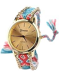 Reloj - GENEVA Reloj de pulsera de cadena trenzada de mujer (Modelo 3)