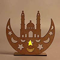 bing T Ramadan Home Decor, Eid Mubarak Ramadan Kareem Islamic Gift, Ramadan Wooden Plaque Decoration Muslim Islamic Pendant, Moon Shape Wood Hanging Jewelry Gift (A)