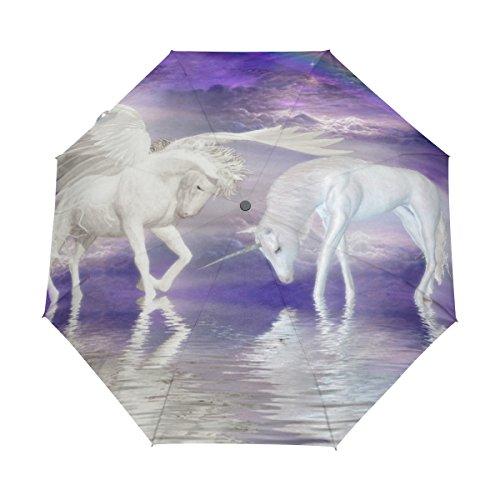 Bennigiry Unicornios Caballo Nube arcoíris 3Folds Auto Abrir Cerrar Paraguas Compacto, Resistente al Viento portátil Durabilidad Viaje Lluvia Paraguas fácil de Llevar