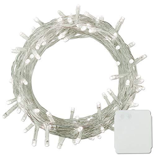 100-500 LED Batterie Lichterkette Kette Batteriebetrieben Leuchte Beleuchtung für Weihnachtsbaum, Garten, Party Innen und Außen Dekoration(Weiß, 100 LEDS)