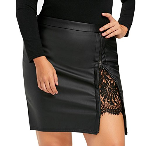 Damen Mode Minirock FORH Frauen Klassisch Hohe Taille PU-Leder Rock Bandage A-Linie Lederrock Sexy Ausdehnungs Wetlook Bodycon kurzen Röcke (Schwarz A, XL)