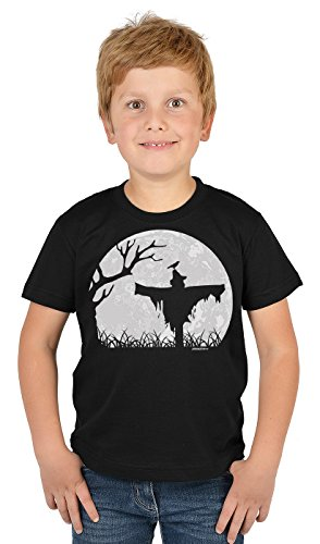 Kinder Halloween T-Shirt - Kindershirt Halloweenparty : Halloween Vogelscheuche - Kinder Tshirt Halloweenparty Vogelscheuche Mond Gr: M = 134-140