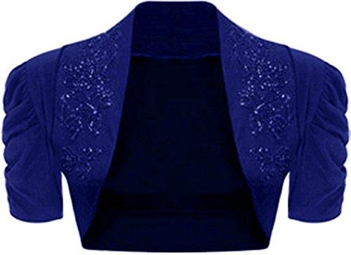 WearAll - Damen Geraffte Achselzucken Kurzarm Strickjacke Bolero Cardigan Top - Blau - 36-38 (Kurzarm-achselzucken)