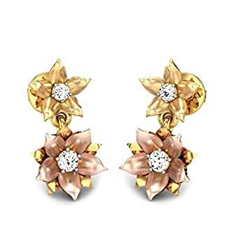 Candere By Kalyan Jewellers 18KT Yellow Gold and Diamond Dangle and Drop Earrings for Women