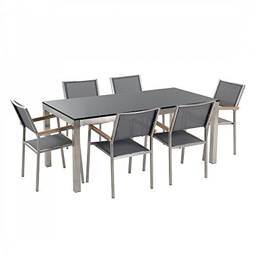 Gartenmöbel - Granitgartentisch single 180 cm schwarz poliert mit 6 grauen Stühlen - GROSSETO