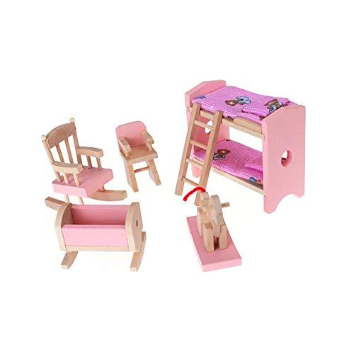 öbel-Satz umfasst Etagenbett Stuhl Wiege Puppenstuben Mini Möbel Spielzeug-Kind-Geschenk ()