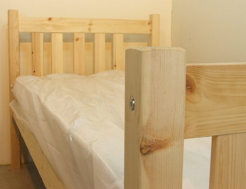 Athens� Single Bed Pine 3ft (90cm) Single Bed Wooden Frame - Can be used by Adults - includes 15cm thick sprung mattress