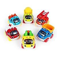 TXVSO 6 Pack Mini Juguetes encantadores Lindos del Coche para los niños pequeños, Tire hacia atrás y Vaya el Juego del Juego del Juguete del Coche