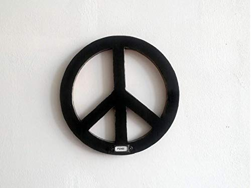 Wanddeko Peace-Zeichen aus Holz mit Schild