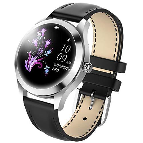 Herzfrequenz-Blutdrucküberwachungsuhr der intelligenten Uhr der Damenmode physiologische Zeitraumanzeige trägt Schrittzählerschlafüberwachung, Valentinstaggeburtstagsgeschenk zur Schau (black)