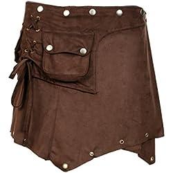 TATTOPANI Damas sueco mini falda. Envolver alrededor de Estilo con Botton Cierre Diseño