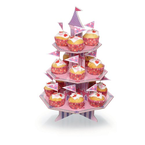 Kitchen Craft - Kit e stand per cupcake Miniamo Fluttercup and Friends a forma di castello magico a 3 ripiani