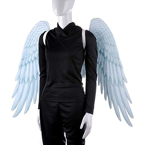 Engel Kostüm Flügel Zubehör - 3D Schwarz Engelsflügel Weiße Fee Flügel Kostüm Halloween Party Karneval Cosplay Flügel Für Erwachsene Männer Frauen Kinder Kinder, Halloween Dekoration Requisiten (2 Größe Verfügbar)