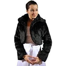 Brautjacke-boléro et col en fourrure-imitation vison à manches longues