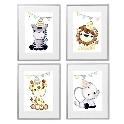 Bilder Wildtiere Kinderzimmer Deko Junge Mädchen Dschungeltiere Poster Set Kinderbilder Elefant Giraffe Löwe Zebra