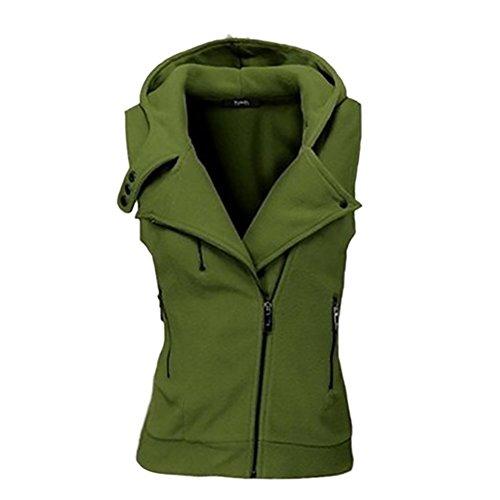 iBaste Sweatweste Damen mit Kapuze Weste Ärmellos Übergangsweste Herbst Zip Hoodie Waistcoat Herbst Jacket für damen-GR-M