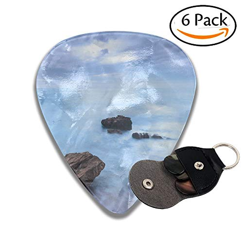 Rocks In A Blue Ocean Waves Under Cloudy Sky In A Bad Weather Long Exposure Photography Stylish Celluloid Guitar Picks Plectrums For Guitar Bass 6 Pack.46mm -