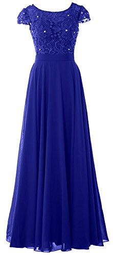 MACloth - Robe - Trapèze - Manches Courtes - Femme Bleu - Bleu marine