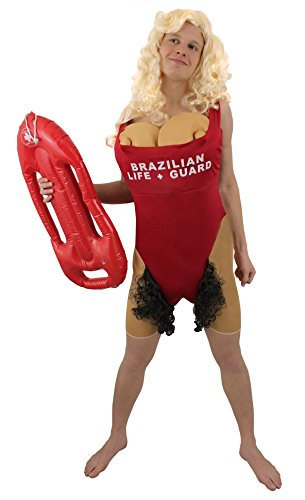 Mens Pamela Anderson Baywatch Lifeguard Swimsuit Costume with very hairy bikini line!