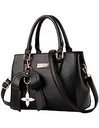 MINICE Damen Handtasche Heiße Elegante Tasche-Leder Schultertasche Handtaschen Umhängetasche Mit Bogen Anhänger