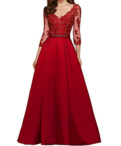 KAIDUN Damen V-Ausschnitt Langarm Ball Party Abendkleider Maxi Rot 36
