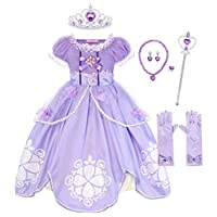 AmzBarley Girls Princess Sofia Dress up Costume Party Dresses for Kids Outfit Childs Halloween Birthday Holiday Pageant Evening Dressing up Age 2-3 Years Size 100