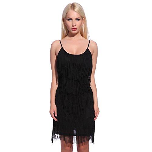 20er Fransenkleid Flapper Kleid Hochzeitkleid Club Latein Tanz kleid Partykleid Minikleid Cocktailkleid Charleston Kleid Schwarz