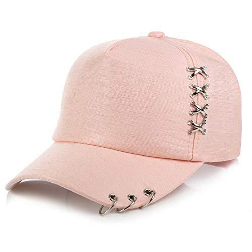 BQMO Unisex Solide Eisen Ring Baseball Cap Metallschnalle Outdoor Sonnenschutzkappen Frauen Männer Einstellbare Hip Hop Hut