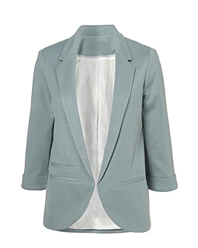 ZongSen Femme Blazer 3/4 Manche Blouson Manteau Jacket Mince Suit Veste Gris Bleu