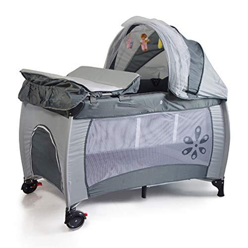 YXLONG Reisebett Baby Multifunktionsbewegliche Doppelte Schicht Entfernbarem Spiel-Bett Baby-Bett Gürtel Moskitonetz,114.5 * 78 * 118CM,Grey (Krippe Neben Dem Bett)