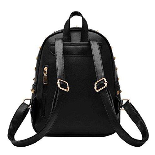 Rivet Zaino Donne PU Borsa A Tracolla Daypacks Ragazze Borsa Multicolore Black