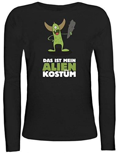Alien Girly Kostüm - Fasching Karneval Damen Longsleeve Langarm T-Shirt mit Das ist Mein Alien Kostüm 5 Motiv, Größe: S,Schwarz