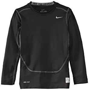 NIKE Youth Boys' Compression Top Long Sleeved white/cool grey Size:L