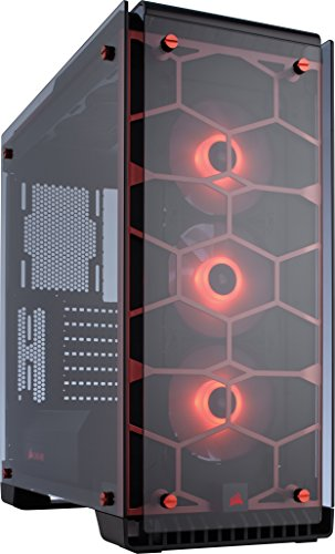 Corsair Crystal 570X Case da Gaming, Mid-Tower ATX, Finestra Laterale Vetro Temperato e Ventole, RGB LED, Rosso