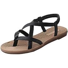 Tefamore Mujer zapatos planos vendaje Bohemia ocio sandalias de señora Peep-Toe zapatos al aire libre